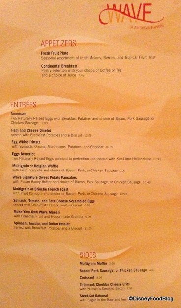 The Wave Breakfast Menu -- click to enlarge