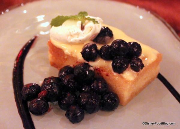 Toasted Lemon Pound Cake with Marinated Blueberries