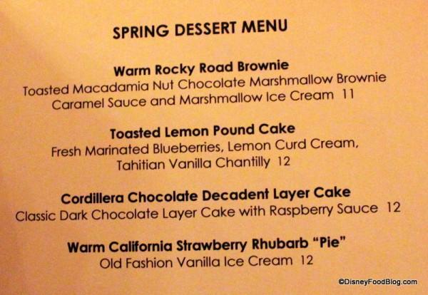 Spring Dessert Menu -- Click to Enlarge