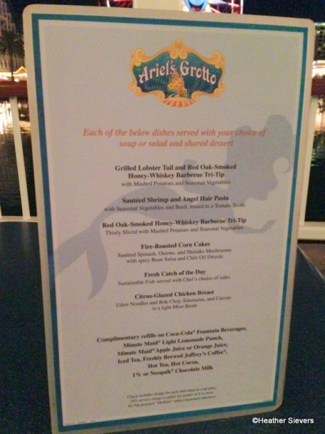 Ariel's Grotto Menu