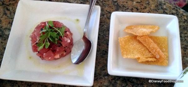 Tuna Poke and Crisps -- Up Close