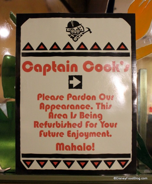 Captain Cook's Refurbishment Sign