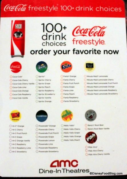 Coke Freestyle Menu 1 -- Click to Enlarge