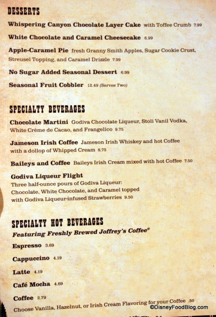 Desserts and Dessert Beverages -- Click to Enlarge