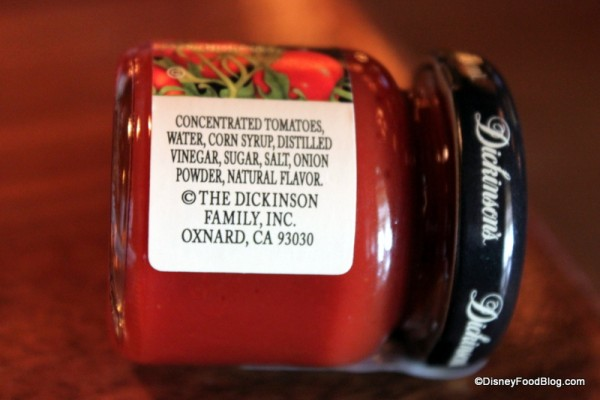Dickinson's Ketchup Ingredients -- Click to Enlarge
