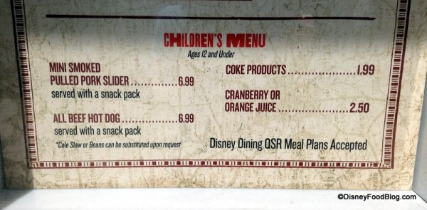 The Smokehouse Children's Menu