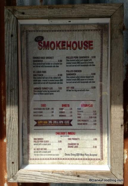 The Smokehouse Menu