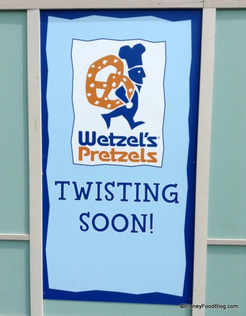 Wetzel's Pretzels construction sign