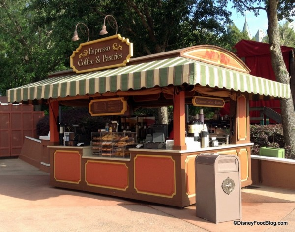 Espresso and Pastries stand between the United Kingdom and Canada Pavilions in Epcot