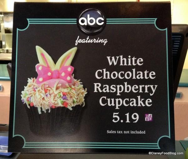 White Chocolate Raspberry Cupcake Sign at ABC Commissary