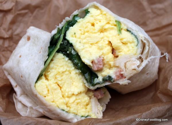 Hot Breakfast Wrap -- Cross Section