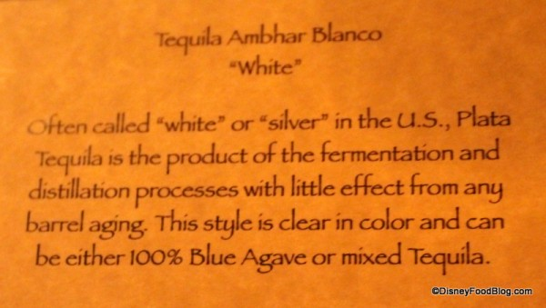 Tequila Blanco description