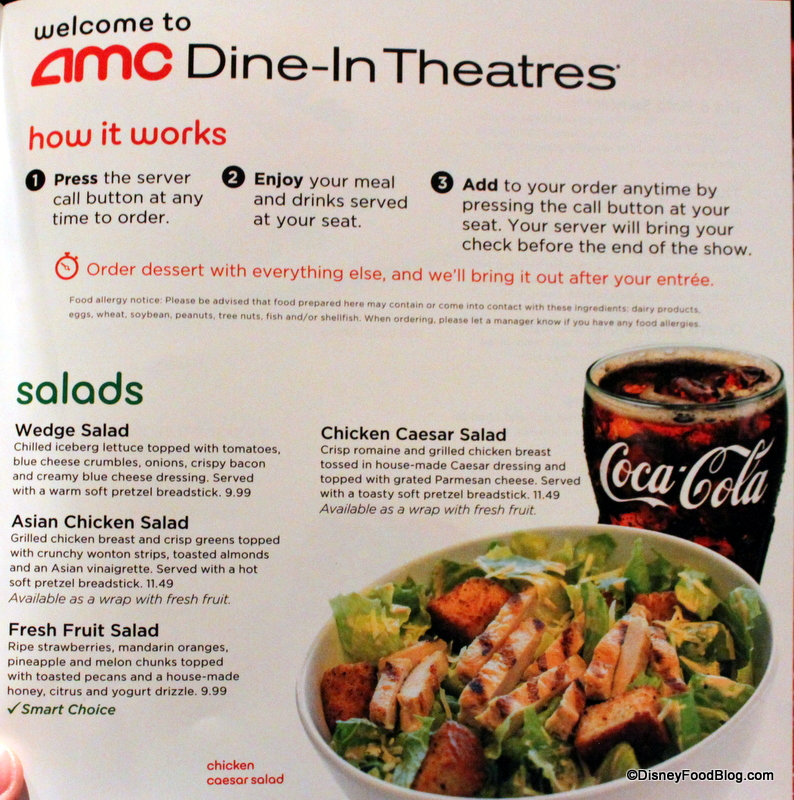 Review Amc Dine In Theater At Walt Disney World S Downtown Disney The Disney Food Blog