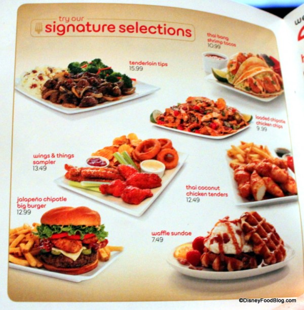 Menu -- Signature Items -- Click to Enlarge