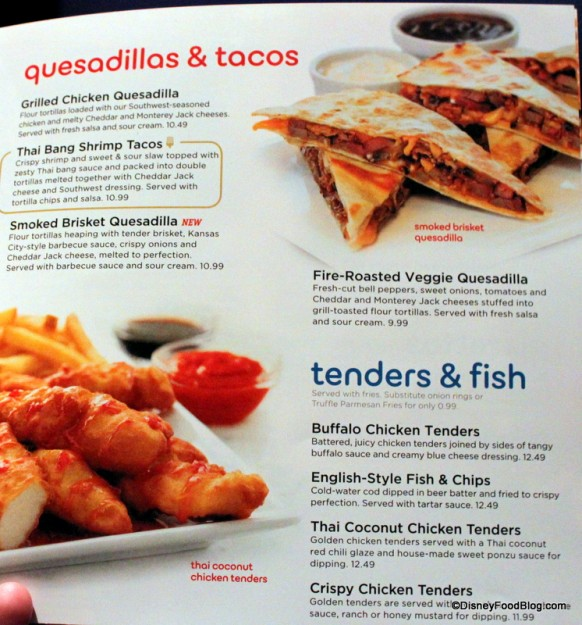 Menu -- A Whole Section Devoted to Quesadillas, Tacos, and Tenders & Fish -- Click to Enlarge