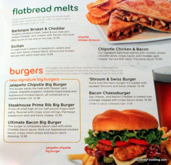 Menu -- Flatbread Melts and Burgers -- Click to Enlarge