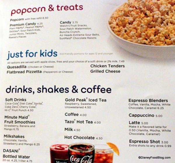 Menu -- Popcorn, Kids, and Beverages -- Click to Enlarge