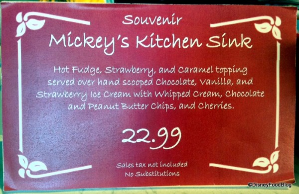 Mickey Kitchen Sink Sundae Description