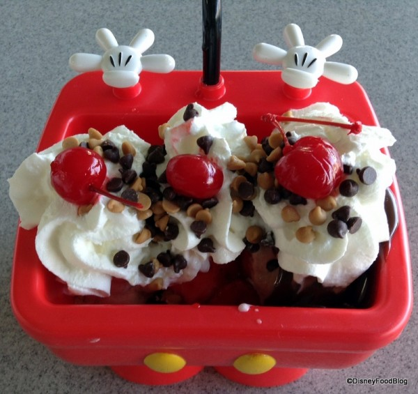 Mickey Kitchen Sink Sundae from above -- ice cream close up