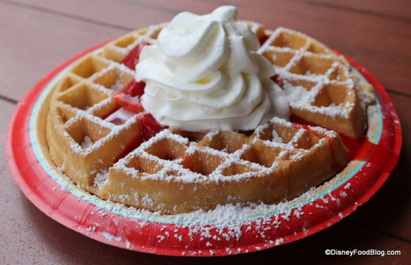 Waffle with Strawberries and Cream