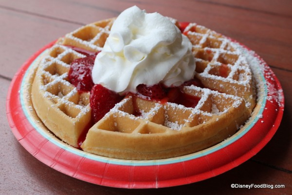 Waffle with Strawberries and Whipped Cream