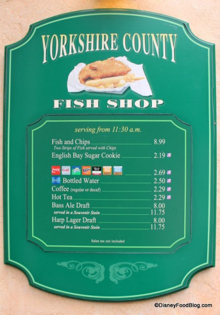 Yorkshire County Fish Shop Menu