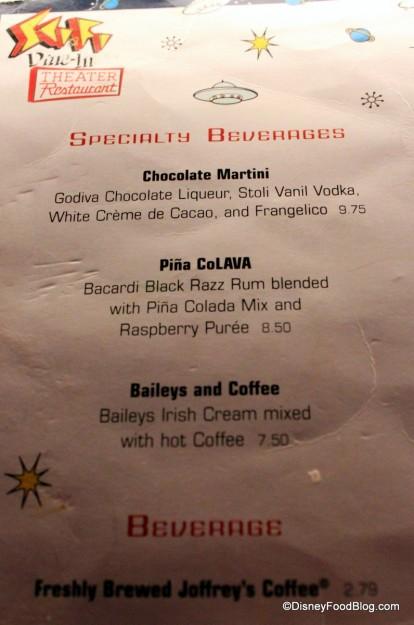 dessert menu back  Sci Fi Dine In