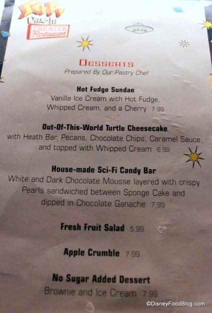dessert menu front  Sci Fi Dine In