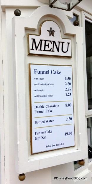 Funnel Cake Menu