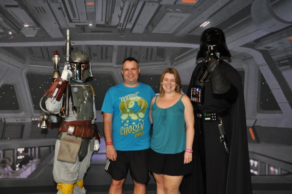 Shaun and Miranda with Boba Fett and Darth Vader