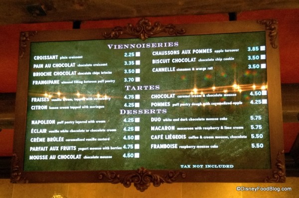 Les Halles dessert and pastries menu