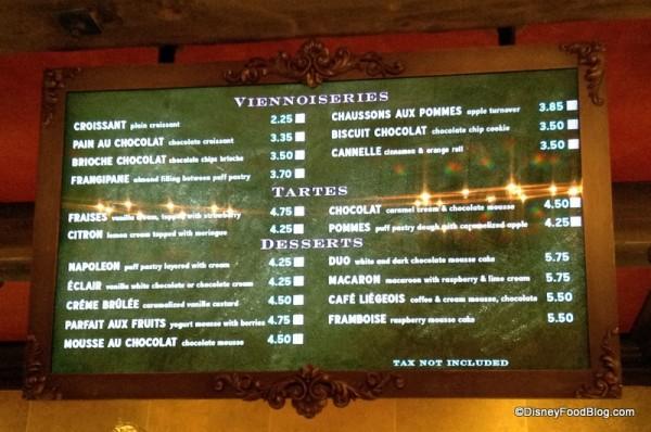 Les Halles dessert and pastries menu