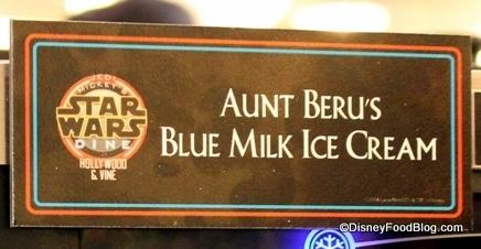 Aunt Beru's Blue Milk Ice Cream sign