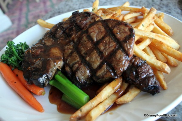 Grand Floridian Cafe Ribeye with Steamed Vegetables and Fries