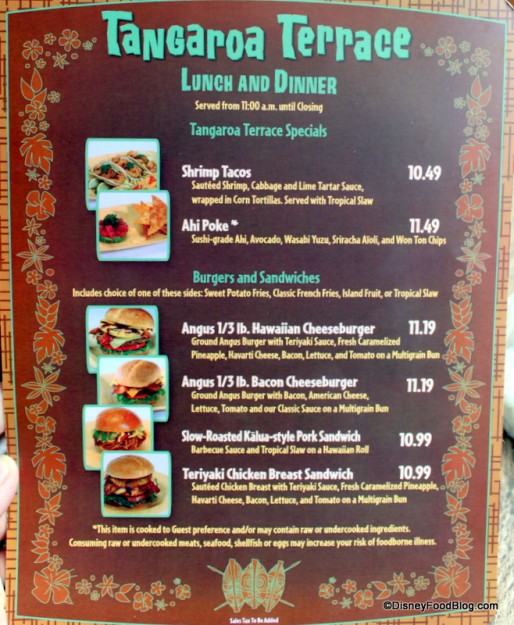 Menu with Pictures -- Click to Enlarge