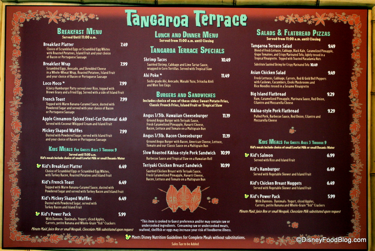 Review lunch at tangaroa terrace in the disneyland hotel for The terrace menu