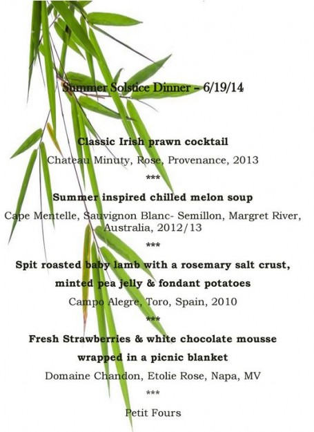 Raglan Road Irish Pub Summer Solstice Signature Dinner Menu -- Click to Enlarge