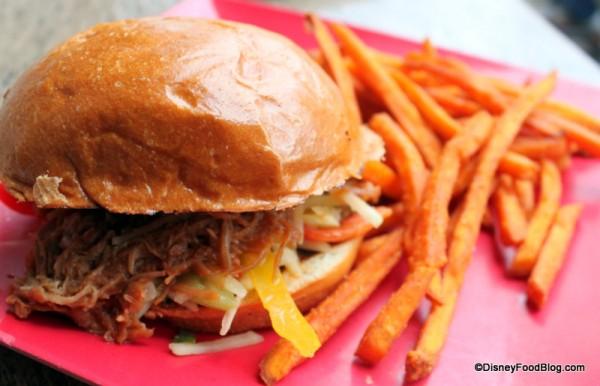 Slow Roasted Kalua-Style Pork Sandwich and Sweet Potato Fries