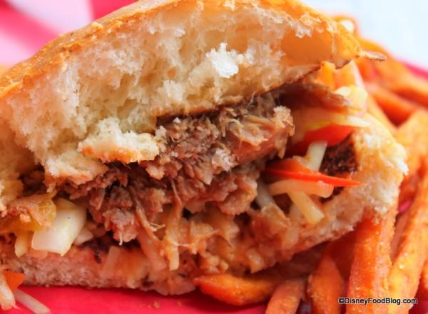 Slow Roasted Kalua-Style Pork Sandwich -- Cross Section