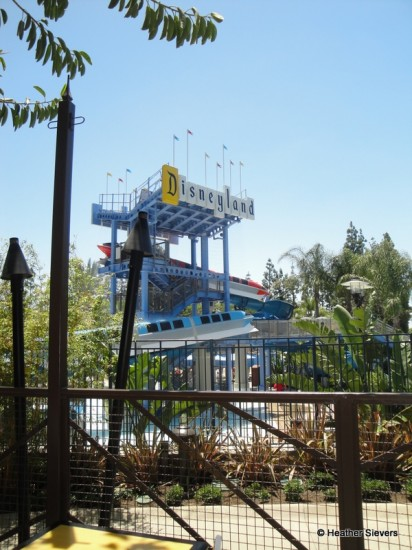 View of the Monorail Waterslides from the Outdoor Seating Area