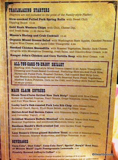 New Whispering Canyon Cafe Menu -- Click to Enlarge