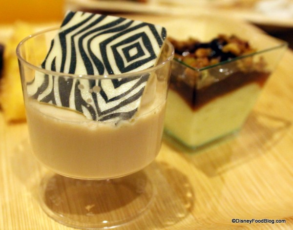 Chai Cream with Zebra Stripes and Rice Pudding, Dried Fruit Compote, and Pistachio Gremolata