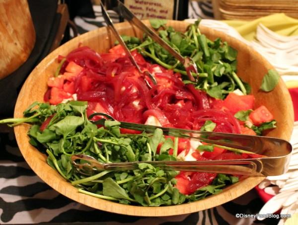 Watercress, Melon, Feta, and Berry Balsamic Onion Salad