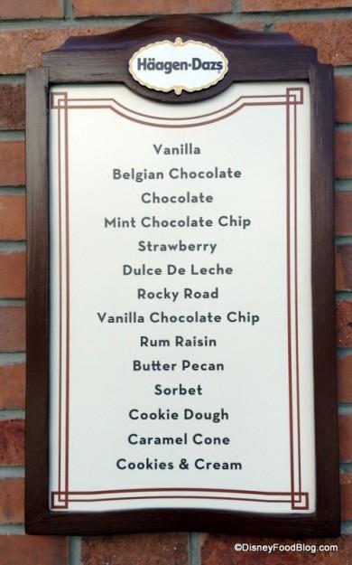 Haagen-Dazs flavors