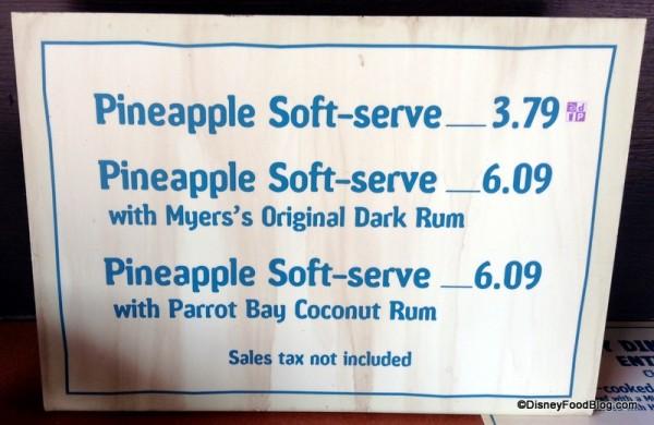Pineapple Soft-serve (Dole Whip!) menu