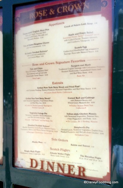 Rose & Crown Menu