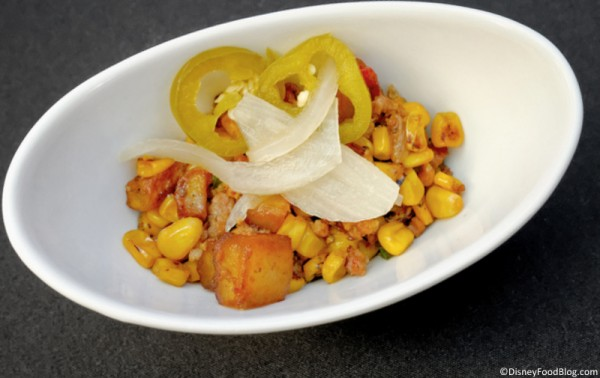 Pepper Bacon Hash with Sweet Corn, Potatoes, Hollandaise, and Pickled Jalapenos