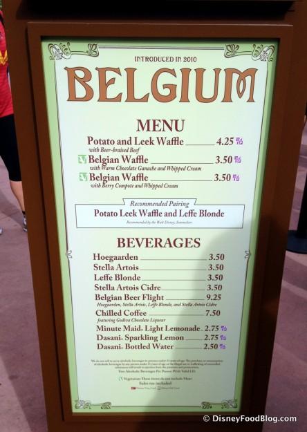 Belgium 2014 Menu