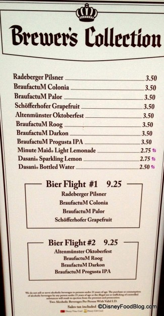 Brewer's Collection 2014 Festival Menu - click image for larger version