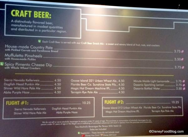 Craft Beer Menu 2014